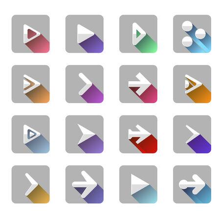 designator: Arrow elements icon symbol colorful long shadow. Vector illustration Illustration
