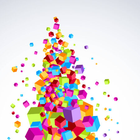 treelike: Colorful bright cubes stream form a tree-like object. Vector illustration