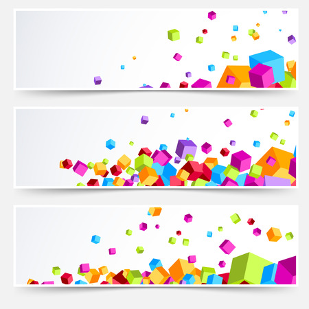 footer: Modern bright plastic cube web business cards. Vector illustration