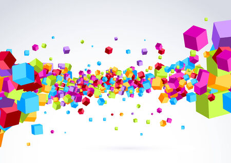 cubic: Plastic colorful bright cubic wave background - flying cube explosion. Vector illustration