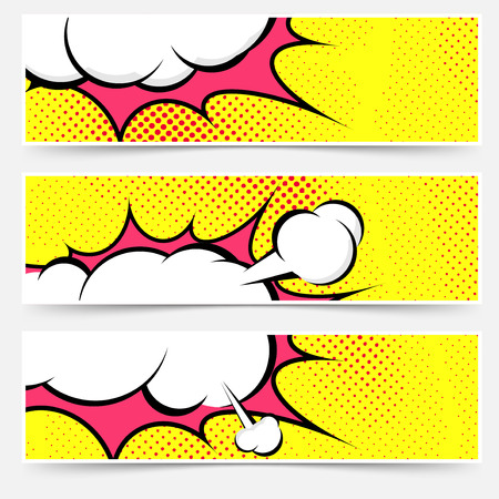art: Explosion steam bubble pop-art web header set - funny funky banner comics background. Vector illustration