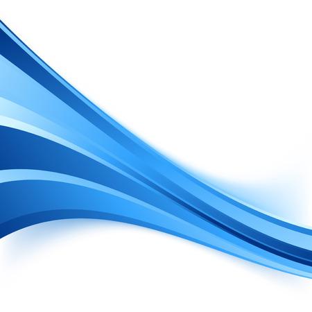 Blue speed stream business wave background - swoosh blue line border abstract design. Vector illustration