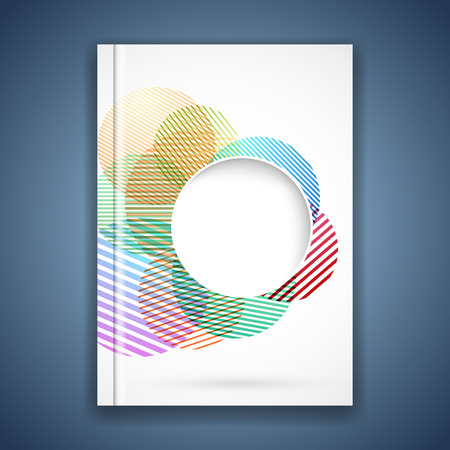 notebook cover: Bright colorful circle notebook cover template. Vector illustration Illustration