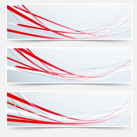 Bright red speed rapid swoosh stream line header - footer web set. Vector illustration