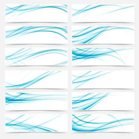 ladylike: Blue flyers web swoosh modern headers footers - speed stream lines collection set. Vector illustration