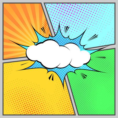 Comic pop-art humorous page style template - cartoon book design. Vector illustration