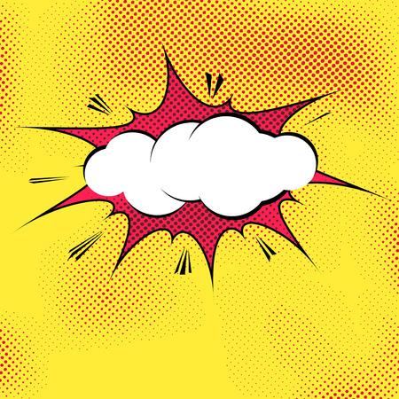 Speech bubble pop-art splash explosion template - comics book dotted background. Vector illustration Stock Illustratie