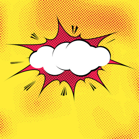 Speech bubble pop-art splash explosion template - comics book dotted background. Vector illustration Çizim