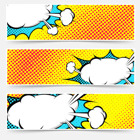 Yellow background pop-art explosion bubble set - comics book dotted web header or footer. Vector illustration
