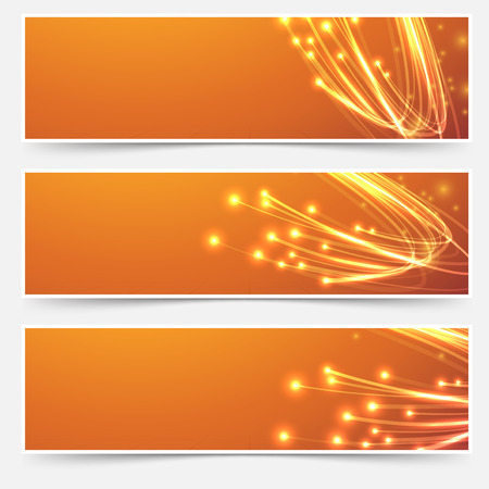 optics: Bright cable bandwidth speed swoosh header - fiber optic broadband internet electricity flow. Vector illustration