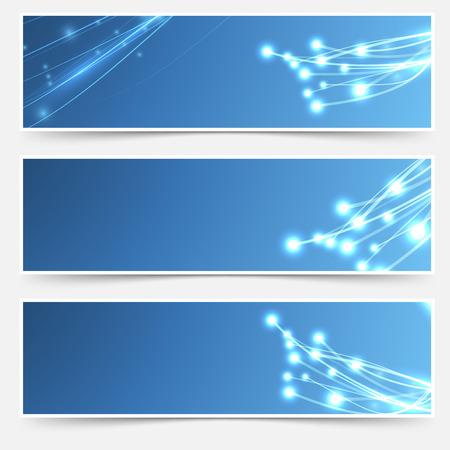 Bright cable sparkle flyer header footer set. Vector illustration 일러스트