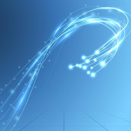 Energiestroom snelheid bandbreedte van glasvezel. Vector illustratie