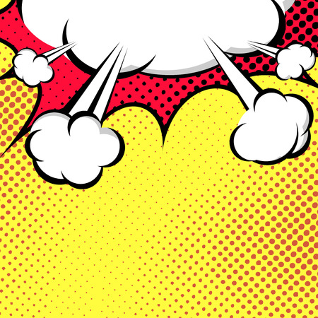 Hanging Speech Bubble Cloud Pop-Art Style - comic book style. Vector illustration