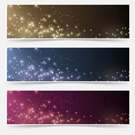 Magic Christmas header footer flyer collection. Vector illustration Vector