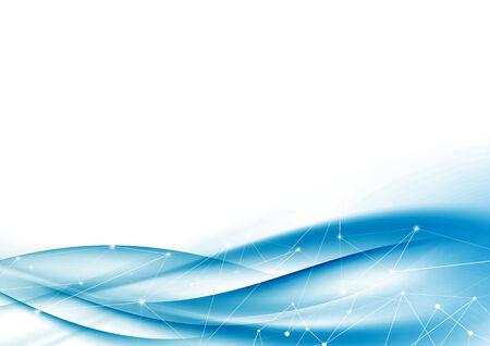 Modern blue tech net swoosh wave abstraction. Vector illustration