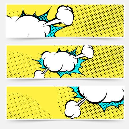 book background: Pop-art comic book explosion card collection. Vector illustration Illustration