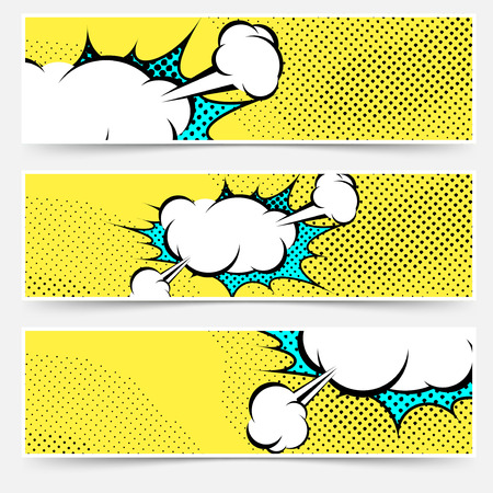 Pop-art comic book explosion card collection. Vector illustration Illustration
