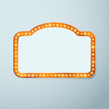 teatro: El cine de época antigua bombilla signo marco Retro - casino teatro de luz o de circo iluminado bandera. Ilustración vectorial