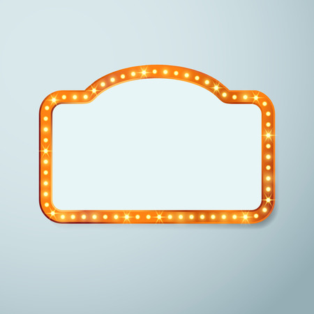 theatre symbol: Retro cinema vintage old bulb frame sign - light theater casino or circus illuminated banner. Vector illustration
