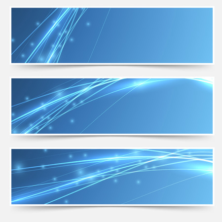 Speed swoosh electric wave lines header set. Vector illustration