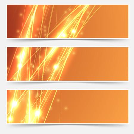 high beams: Bright swoosh speed line abstract header set - electric streak shimmering. Vector illustration