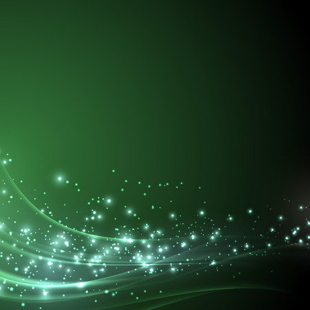 streaks: Green sparkle shimmering abstract background - with light line streaks. Vector illustration