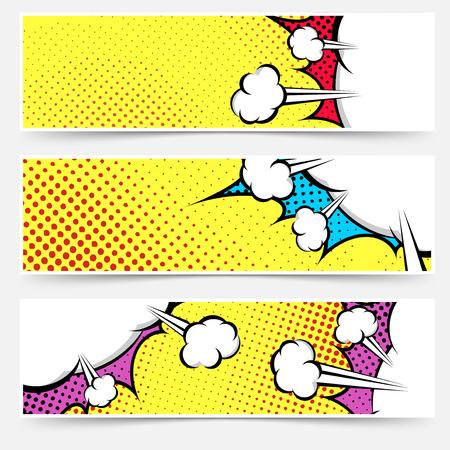 libro: El arte pop cómic colección cabecera amarilla - punteada web footer conjunto burbuja explosión fondo. Ilustración vectorial
