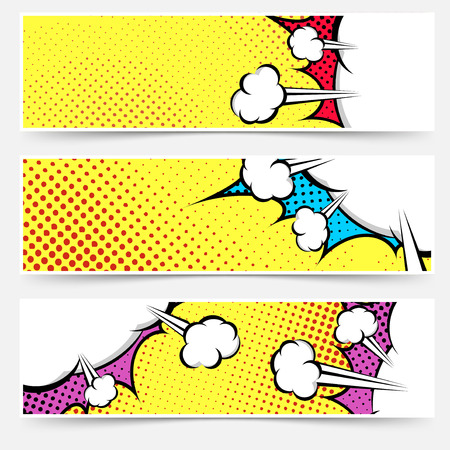 Pop art comic book geel header collectie - gestippelde web voettekst explosie bubble set achtergrond. Vector illustratie