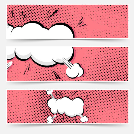 Pop art explosion comic book web collection - headers and footers banners. Vector illustration Vector