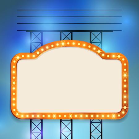Retro cinema old vintage bulb frame sign - neon casino show special advert. Vector illustration Stock Illustratie