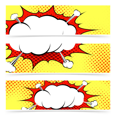 Comic book retro style web header or footer collection with blasting explosion steam cloud. Vector illustration