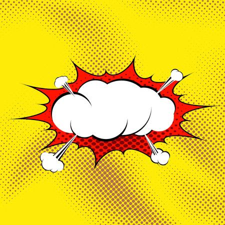 Retro comic book style pop art steam explosion expression funny bubble. Vector illustration Illustration
