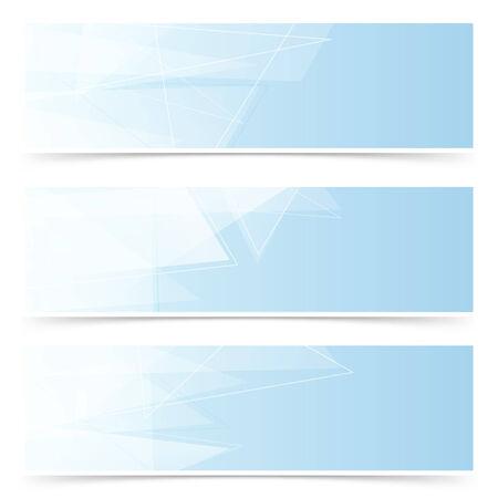 hi end: Web crystal blue headers footers collection - modern transparent. Vector illustration Illustration
