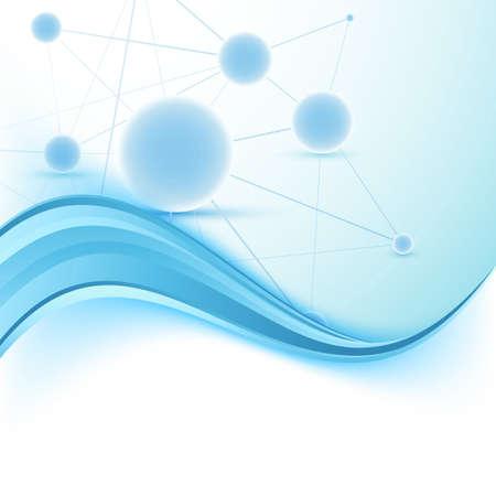 swoosh: Modern science folder swoosh blue border wave template. Vector illustration