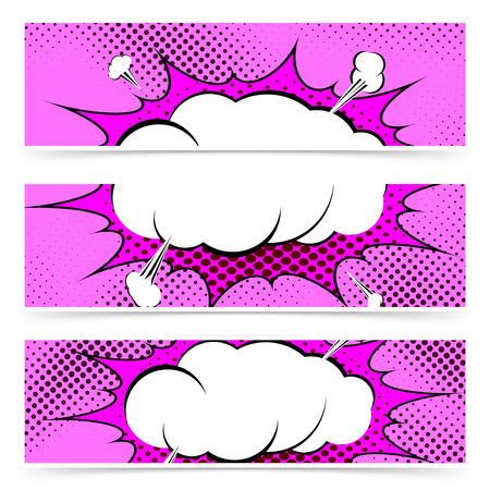 zonk: Comic book pop art style web header collection with explosion steam cloud.