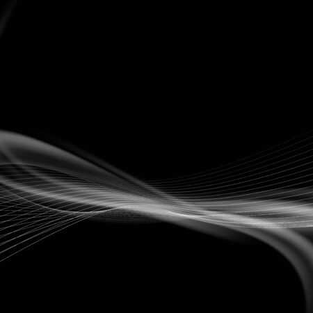 Dark smoke modern abstract background speed swoosh halftone wave line over black.