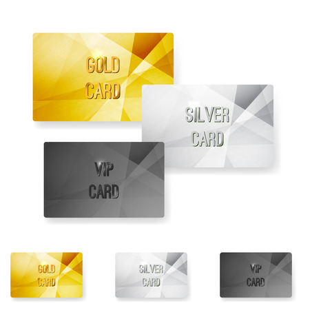Club member metal modern cards template with abstract crystal metal structure. Vector illustration Illustration