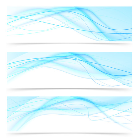 modernistic: Modern blue wave speed line banners set - web abstract collection. Vector illustration