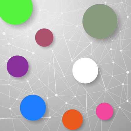 structuring: Modern connection modeling background with circles for infographics and information structuring. Vector illustration