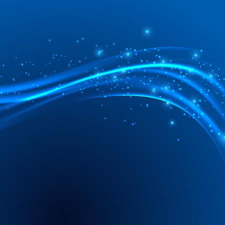 Moderno ola azul swoosh resumen velocidad de alimentación sobre fondo azul. Ilustración vectorial Vectores
