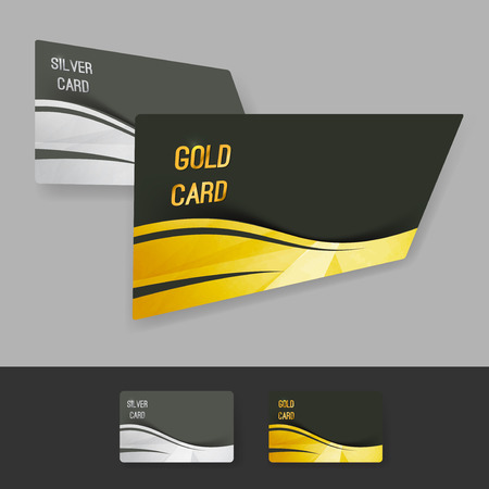 privilege: Premium gold silver member card collection with swoosh wave border and crystal structure. Vector illustration