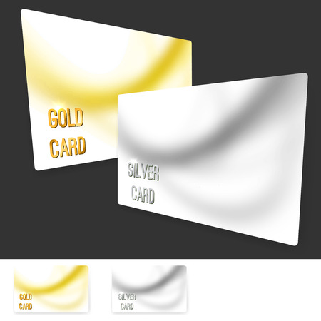 premium member: Premium user member card template collection - vip golden and silver plastic cards. Vector illustration