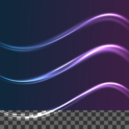 streak: Speed neon glow transparent swoosh lines collection. Vector illustration