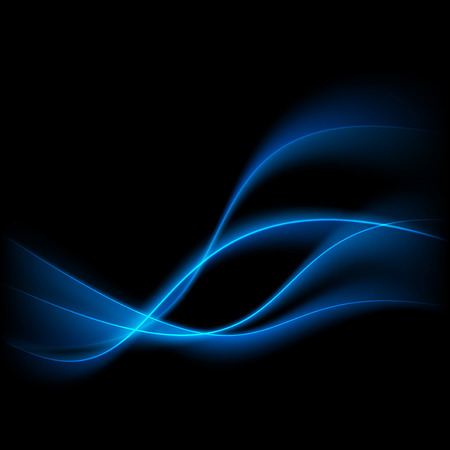 Abstract blue swoosh lines over black background. Vector illustration