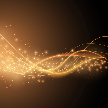 particles: Bright solar orange swoosh speed wave modern glittering background in orange color. Vector illustration Illustration