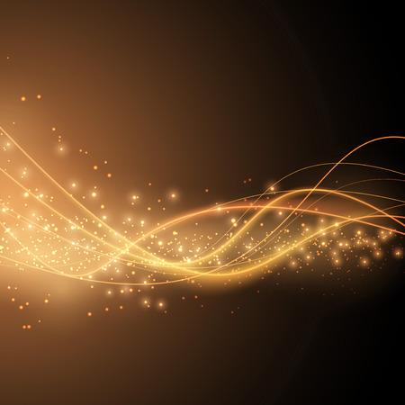 Bright solar orange swoosh speed wave modern glittering background in orange color. Vector illustration Illustration