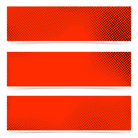 Pop art style dotted red banners collection in red black color. Vector illustration Ilustração