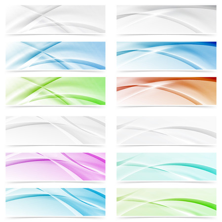 modernistic: Big modern abstract swoosh wave web headers collection. Vector illustration Illustration