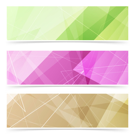 footer: Triangular pattern web footer collection of bright colorful crystal pattern header banners. Vector illustration