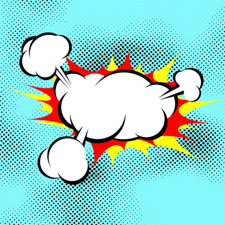 Pop art explosion boom cloud comic book background over dotted blue. Vector illustration